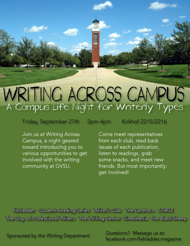 Join fishladder at Writing Across Campus on Friday, September 27th!